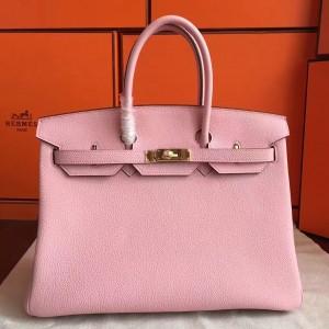 Hermes Pink Clemence Birkin 40cm Handmade Bag