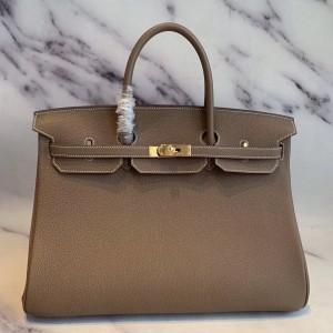 Hermes Taupe Clemence Birkin 40cm Handmade Bag
