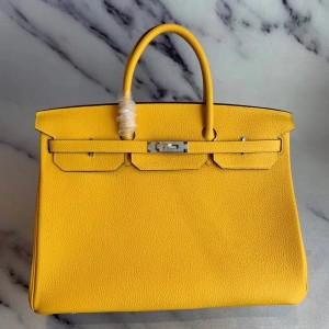 Hermes Yellow Clemence Birkin 40cm Handmade Bag