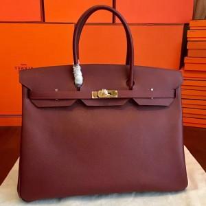 Hermes Bordeaux Epsom Birkin 40cm Handmade Bag