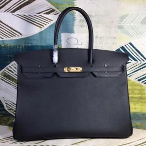 Hermes Black Epsom Birkin 40cm Handmade Bag