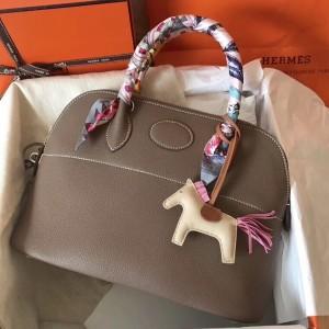Hermes Taupe Clemence Bolide 31cm Handmade Bag