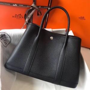 Hermes Black Clemence Garden Party 30cm Handmade Bag