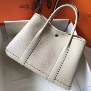 Hermes White Clemence Garden Party 30cm Handmade Bag