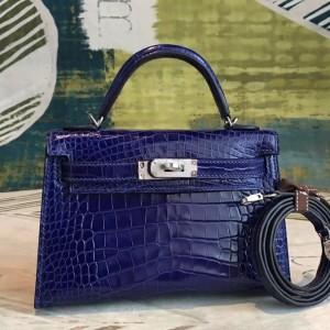 Hermes Blue Alligator Kelly Mini II Handmade Bag