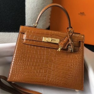 Hermes Kelly 25 cm Bag In Brown Embossed Crocodile