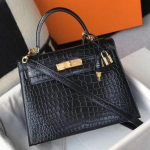Hermes Kelly 25cm Bag In Black Embossed Crocodile