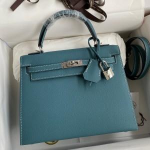 Hermes Epsom Kelly 25cm Sellier Handmade Blue Jean Bag