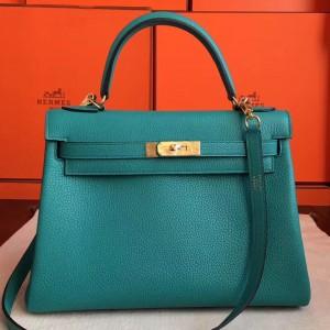 Hermes Blue Paon Clemence Kelly Retourne 32cm Handmade Bag
