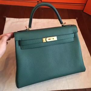 Hermes Malachite Clemence Kelly Retourne 32cm Handmade Bag