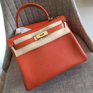 Hermes Orange Clemence Kelly Retourne 32cm Handmade Bag