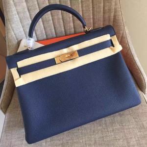 Hermes Sapphire Clemence Kelly Retourne 32cm Handmade Bag