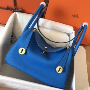 Hermes Blue Zanzibar Lindy 26cm Clemence Handmade Bag