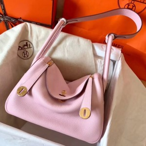 Hermes Rose Dragee Lindy 26cm Clemence Handmade Bag