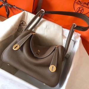 Hermes Taupe Lindy 26cm Clemence Handmade Bag