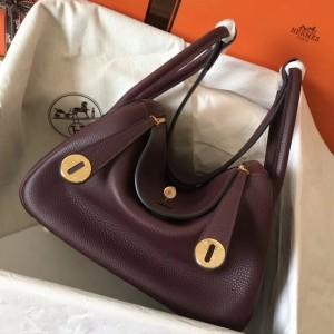 Hermes Bordeaux Lindy 30cm Clemence Handmade Bag
