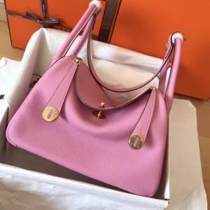 Hermes Pink Lindy 30cm Clemence Handmade Bag