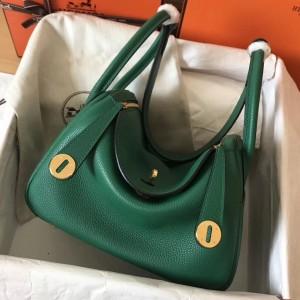 Hermes Vert Vertigo Lindy 30cm Clemence Handmade Bag
