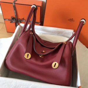 Hermes Bicolor Lindy 30cm Swift Bordeaux Handmade Bag
