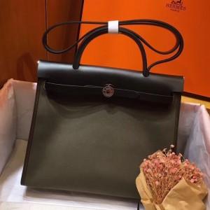 Hermes Herbag Zip 31cm Bag In Black And Canopee