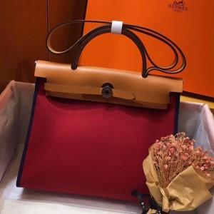 Hermes Herbag Zip 31cm Bag In Brown And Red