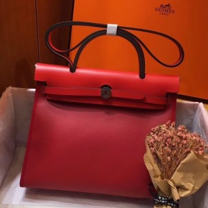 Hermes Herbag Zip 31cm Bag In Red Toile And Leather