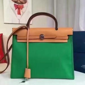 Hermes Herbag Zip PM 31cm Bag In Green Canvas