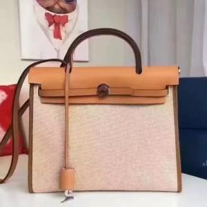 Hermes Herbag Zip PM 31cm Bag In Beige Canvas