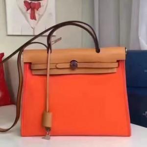 Hermes Herbag Zip PM 31cm Bag In Orange Canvas