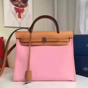 Hermes Herbag Zip PM 31cm Bag In Pink Canvas