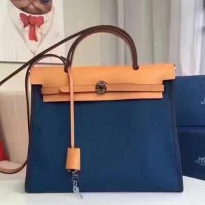 Hermes Herbag Zip PM 31cm Bag In Sapphire Canvas