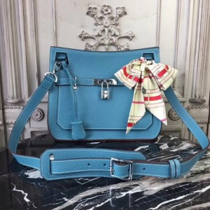 Hermes Blue Jean Clemence Jypsiere 28cm Bag