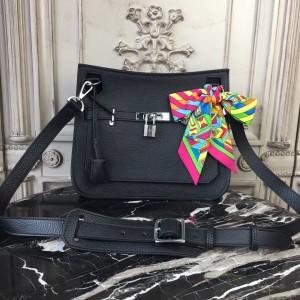 Hermes Black Clemence Jypsiere 28cm Bag