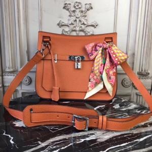 Hermes Orange Clemence Jypsiere 28cm Bag