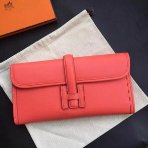 Hermes Rouge Pivoine Epsom Jige Elan 29 Clutch Bag