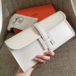 Hermes White Epsom Jige Elan 29 Clutch Bag
