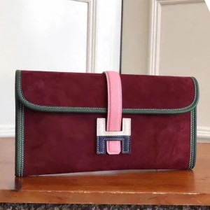 Hermes Bordeaux Suede Jige Elan 29 Clutch Bag