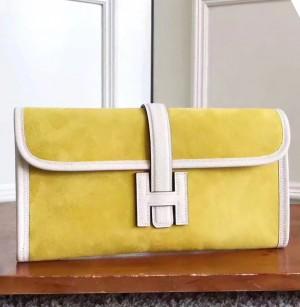 Hermes Yellow Suede Jige Elan 29 Clutch Bag
