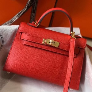 Hermes Kelly Mini II Bag In Rouge Casaque Epsom Leather