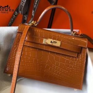 Hermes Kelly Mini II Bag In Brown Crocodile Embossed Leather