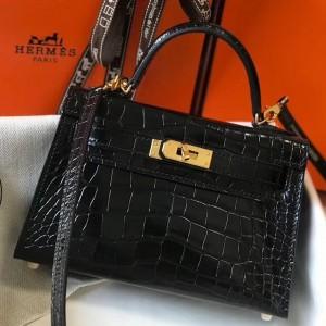 Hermes Kelly Mini II Bag In Black Crocodile Embossed Leather