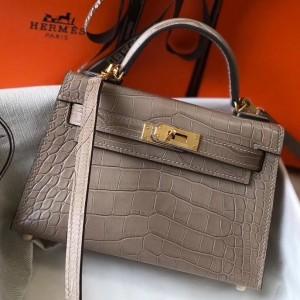 Hermes Kelly Mini II Bag In Grey Crocodile Embossed Leather
