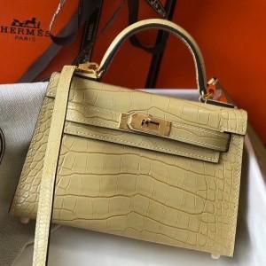 Hermes Kelly Mini II Bag In Vanille Crocodile Embossed Leather