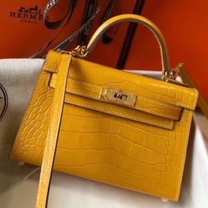 Hermes Kelly Mini II Bag In Yellow Crocodile Embossed Leather