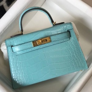 Hermes Kelly Mini II Bag In Blue Atoll Embossed Crocodile Calfskin