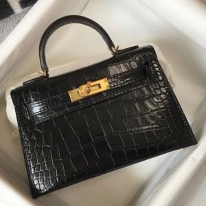 Hermes Kelly Mini II Bag In Black Embossed Crocodile Calfskin