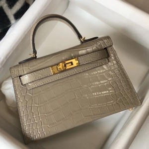 Hermes Kelly Mini II Bag In Taupe Embossed Crocodile Calfskin