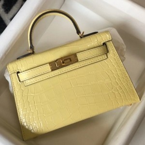 Hermes Kelly Mini II Bag In Jaune Poussin Embossed Crocodile Calfskin