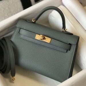 Hermes Kelly Mini II Bag In Vert Amande Epsom Leather