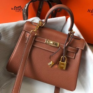 Hermes Mini Kelly 20cm Bag In Brown Clemence Leather